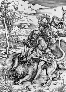Samson Slaying the Lion, Durer